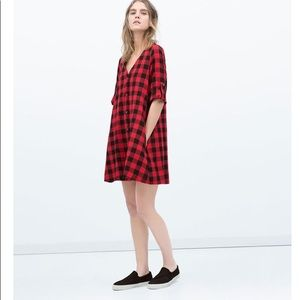 6498ce01 Zara Dresses | Checkered Swing Dress | Poshmark